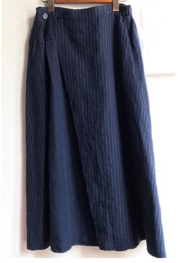 リラシクフレンチリネンラップ風スカート